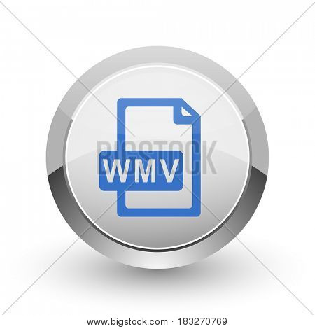 Wmv file chrome border web and smartphone apps design round glossy icon.