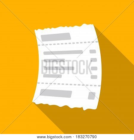 Receipt icon in flat style isolated on white background. E-commerce symbol vector illustration.