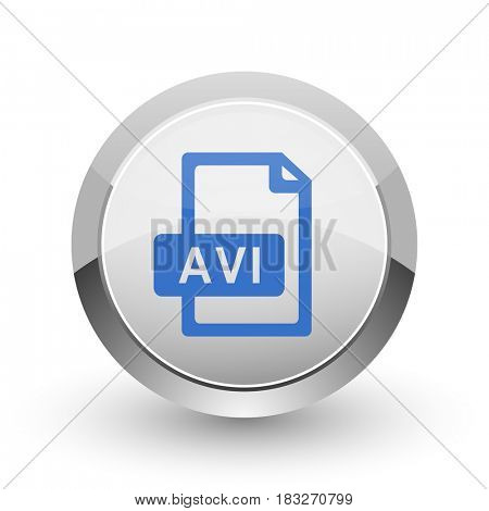 Avi file chrome border web and smartphone apps design round glossy icon.