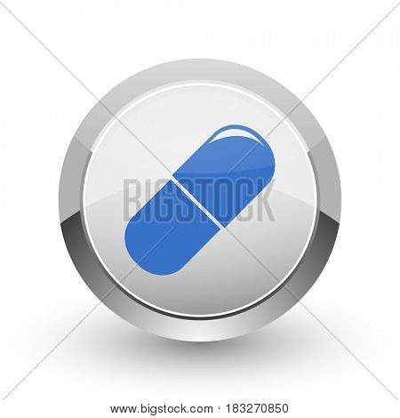Drugs chrome border web and smartphone apps design round glossy icon.