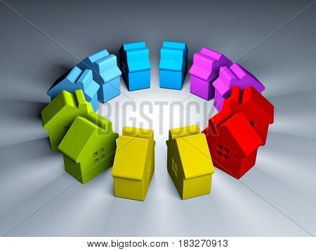 Colorful figures of houses. 3d illustration