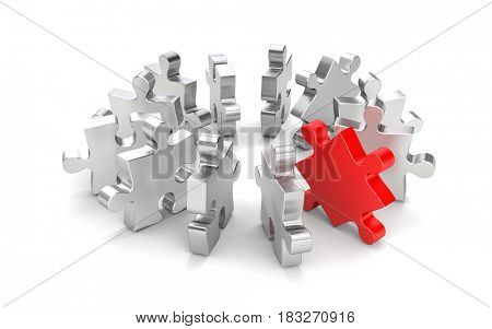 Red puzzle among the other grey puzzles. 3d illustration
