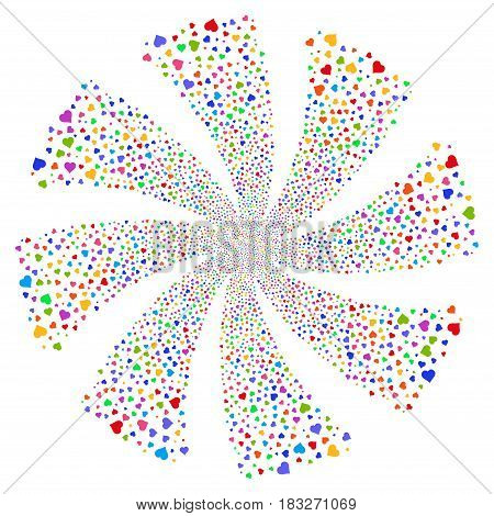 Heart fireworks swirl rotation. Vector illustration style is flat bright multicolored iconic symbols on a white background. Object whirl organized from random symbols.