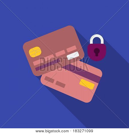 Credit Card Security icon in flat style isolated on white background. E-commerce symbol vector illustration.