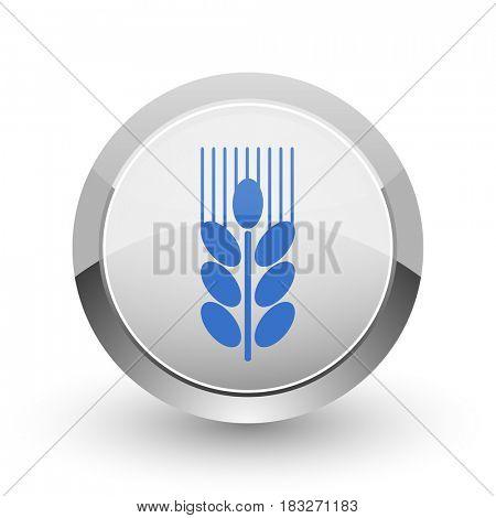 Grain chrome border web and smartphone apps design round glossy icon.