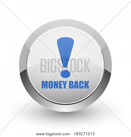 Money back chrome border web and smartphone apps design round glossy icon.