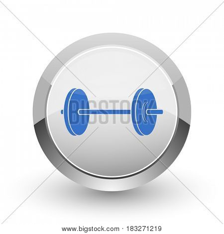 Fitness chrome border web and smartphone apps design round glossy icon.