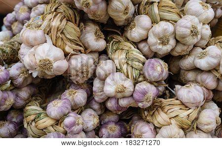 Closed up of dry garlic in Bangkok street market.