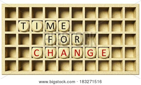 3d rendering of a wooden grid with cubes and the message time for change