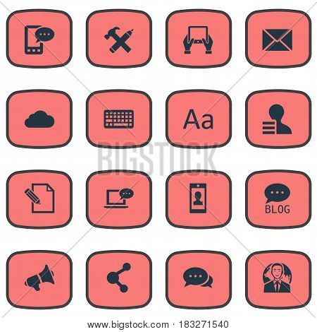 Vector Illustration Set Of Simple Blogging Icons. Elements Notepad, Site, Profile And Other Synonyms Tablet, Post And Keypad.