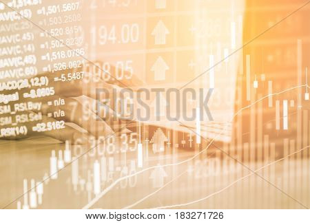 Double Exposure Business Man On Stock Financial Exchange. Stock Market Financial  Indices On Led. Ec