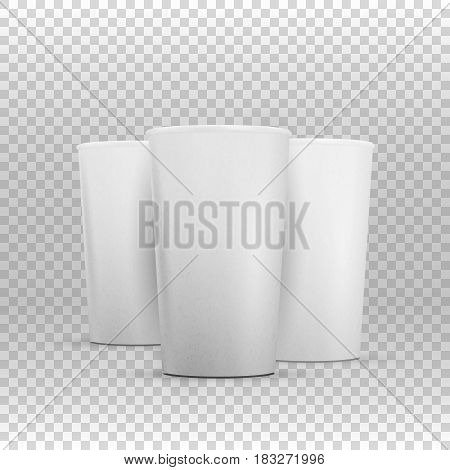 Illustration of Vector Coffee Cup Mockup Set. Realistic Open Coffee Takeout Cup Set on Transparent Overlay Background