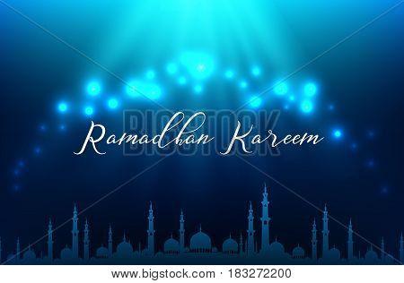 Vector illustration of Ramadhan kareem muslim on blue background