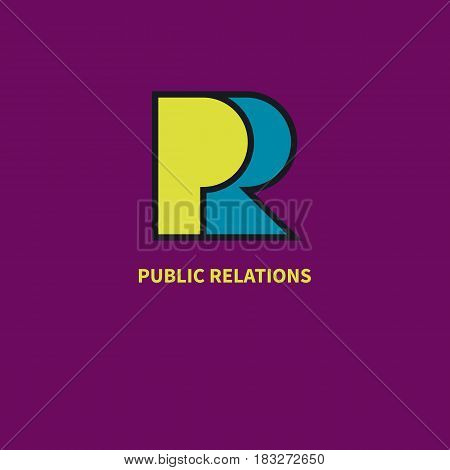 Yellow and blue pr letters cut from paper. Icon, logo public relations. Vector illustration.