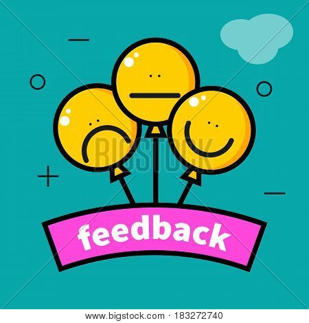 Icon feedback.  Smiley yellow round balloons. Vector illustration.