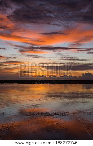 Sky And Beautiful Sunsets On The Beach.