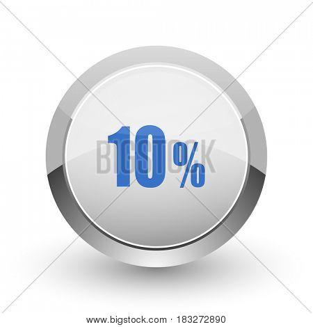 10 percent chrome border web and smartphone apps design round glossy icon.