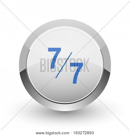 7 per 7 chrome border web and smartphone apps design round glossy icon.