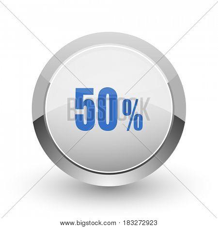 50 percent chrome border web and smartphone apps design round glossy icon.