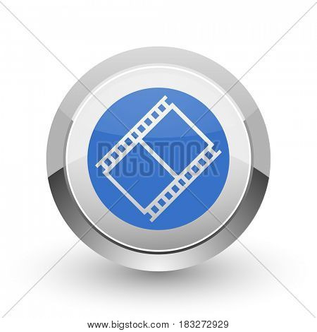 Film chrome border web and smartphone apps design round glossy icon.