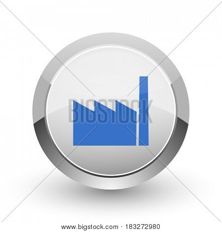 Factory chrome border web and smartphone apps design round glossy icon.