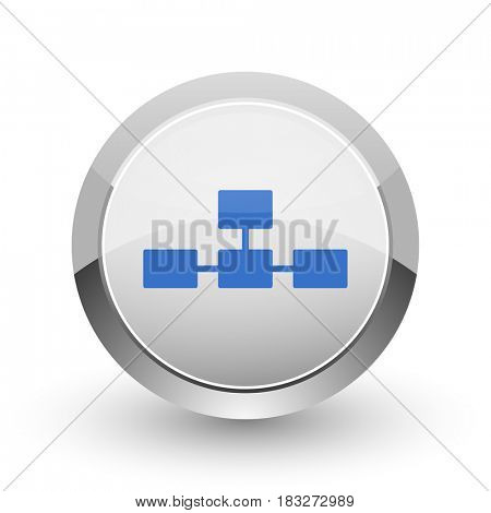 Database chrome border web and smartphone apps design round glossy icon.