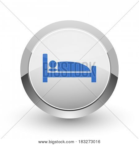 Hotel chrome border web and smartphone apps design round glossy icon.