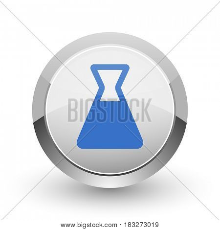 Laboratory chrome border web and smartphone apps design round glossy icon.