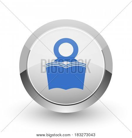 Book chrome border web and smartphone apps design round glossy icon.