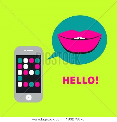 Icon flirting via mobile apps. Logo dating site. Phone and bubble with  lips. Vector illustration.