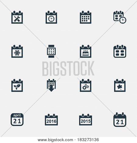 Vector Illustration Set Of Simple Date Icons. Elements Remembrance, Annual, Plant And Other Synonyms Agenda, Almanac And Snowflake.