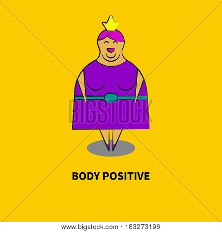 Fat smiling woman in crown isolated. Symbol body positive, big and beautiful. Overweight and confidence. Vector illustration.
