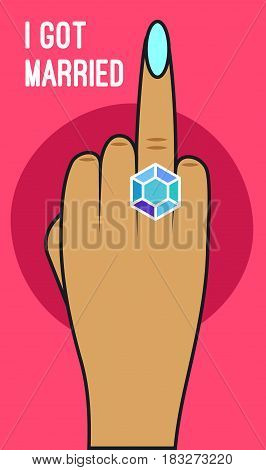 Card girl shows hand with diamond ring on ring finger. Comic vector illustration.