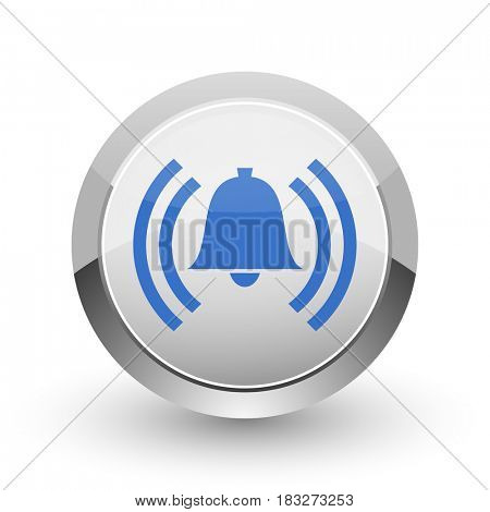 Alarm chrome border web and smartphone apps design round glossy icon.