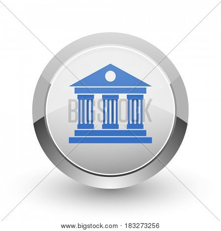Museum chrome border web and smartphone apps design round glossy icon.