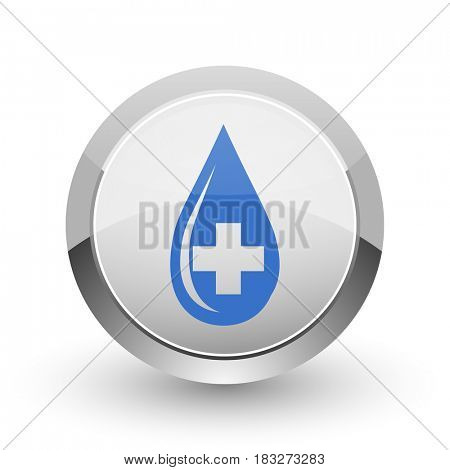 Blood chrome border web and smartphone apps design round glossy icon.