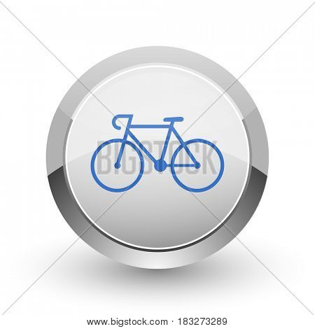 Bicycle chrome border web and smartphone apps design round glossy icon.
