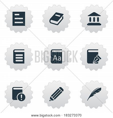 Vector Illustration Set Of Simple Reading Icons. Elements Tasklist, Plume, Sketchbook And Other Synonyms Quill, Alphabet And Encyclopedia.