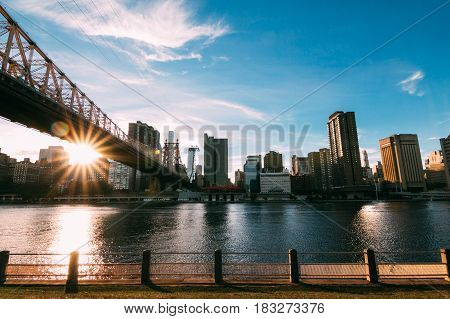 Sun Touches Manhattan Buildings seen from Roosevelt Island