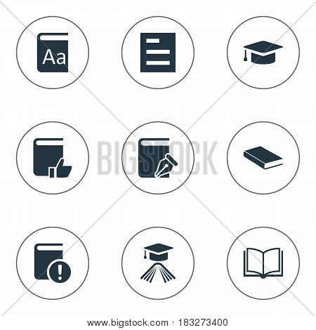 Vector Illustration Set Of Simple Knowledge Icons. Elements Important Reading, Alphabet, Tasklist And Other Synonyms Notebook, Sketchbook And Catalog.