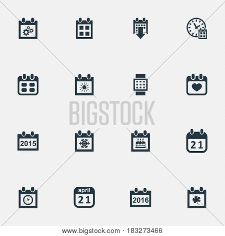 Vector Illustration Set Of Simple Date Icons. Elements Event, Agenda, Leaf And Other Synonyms Almanac, Deadline And Summer.