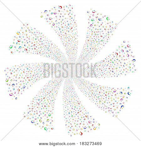 Moon Stars fireworks swirl rotation. Vector illustration style is flat bright multicolored iconic symbols on a white background. Object whirlpool created from random pictograms.