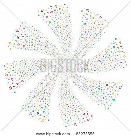 Music Notes fireworks swirl rotation. Vector illustration style is flat bright multicolored iconic symbols on a white background. Object twirl made from random icons.