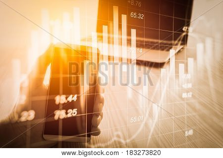Abstract Economy Analysis Background. Double Exposure Business Man On Stock Financial Exchange. Stoc