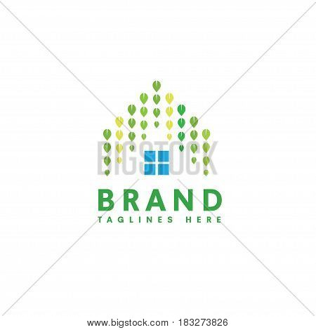 green house logo, leaf and house roofing design concept. natural green house and real estate logo concept, creative green leaf as roofing house logo