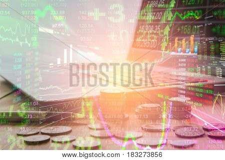 Double Exposure Business Accessory On Financial Statistic Data. Stock Market Financial Data On Led.