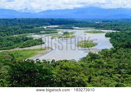 Puyo river landscape on a cloudy day in Amazonic Ecuador