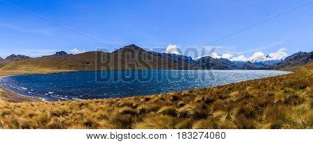 Ozogoche Lagoon panorama on a sunny day in Ecuador