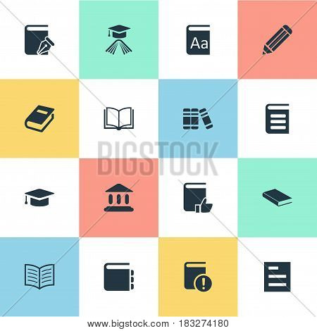 Vector Illustration Set Of Simple Education Icons. Elements Library, Bookshelf, Alphabet And Other Synonyms Notepad, Academy And Note.