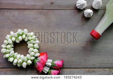 Jasmine garlandfor show respect in Thai culture.